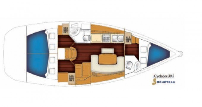 Location bateau Bénéteau Cyclades 39.3 à Nea Moudania sur Samboat