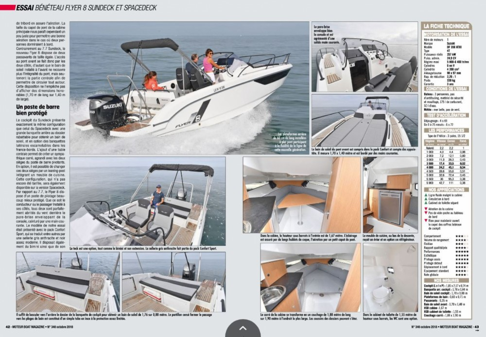 Location bateau Cogolin pas cher Flyer 8 Sun Deck