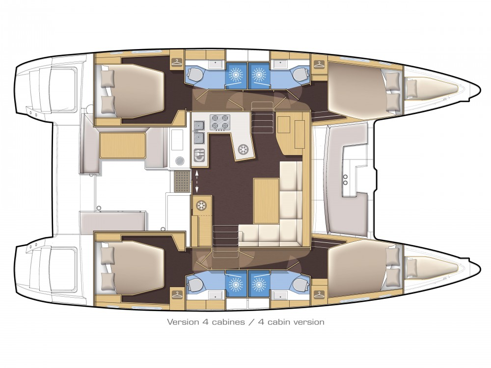 Location bateau Spalato pas cher Lagoon 450 Sport LUX equipped with generator, A/C (saloon+cabins), ice maker, dishwasher, 2 S.U.P., underwater lights